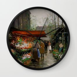 Paris Flower Market At La Madeleine by Edouard Cortes Wall Clock