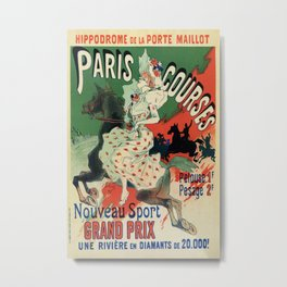 Paris horse races by Chéret Metal Print