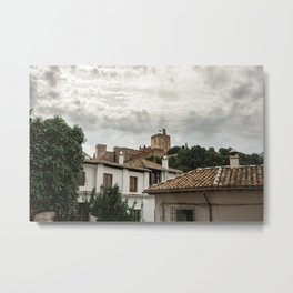 Tower of the Alhambra under the clouds Metal Print