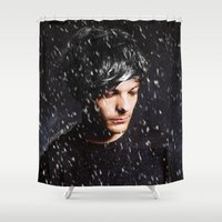 louis tomlinson Shower Curtains featuring Louis Tomlinson Christmas by girllarriealmighty