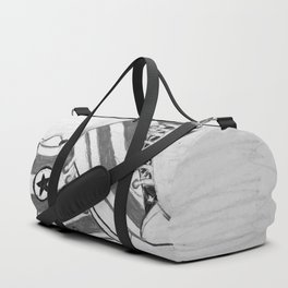 black and white rock and roll Duffle Bag