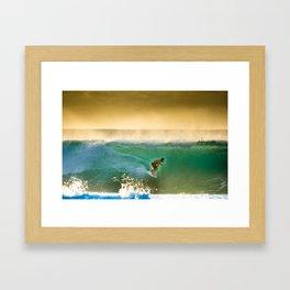 Ricardo Dos Santos, Sunset surfing on North Shore Hawaii  Framed Art Print
