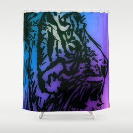 Tiger Style Blue, Purple, Green Shower Curtain