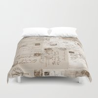 letters Duvet Covers featuring Old Letters by LebensART