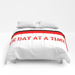 One Day at a Time (red block) Comforters