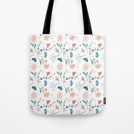 Flora & Butterflies (White) Tote Bag