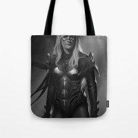 batgirl Tote Bags featuring Batgirl by Emile Denis