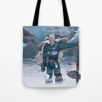 warhammer Tote Bags featuring Warhammer 40,000 Space Wolf Marine by Derek Boman