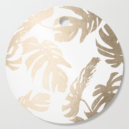 Simply Tropical Palm Leaves in White Gold Sands Cutting Board