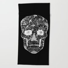 Human skull with hand- drawn flowers, butterflies, floral and geometrical patterns Beach Towel
