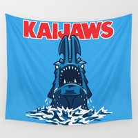jaws Wall Tapestries featuring KaiJaws (Pacific Rim/Jaws) by Tabner's