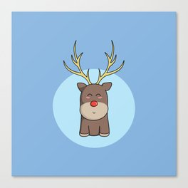 Cute Kawaii Christmas Reindeer Canvas Print