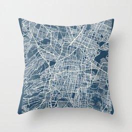 Mexico City Blueprint Street Map, Mexico City Colour Map Prints Throw Pillow
