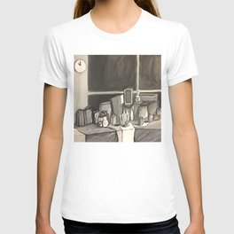 As Time Passes in Black and White T-shirt