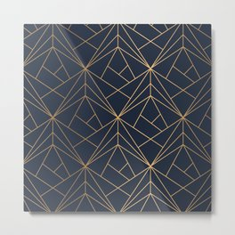 Elegant geometric copper navy blue Metal Print