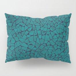 Teal Lumber Mosaic Pattern Pillow Sham