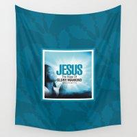 jesus Wall Tapestries featuring Jesus Design by Azeez Olayinka Gloriousclick