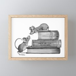 Mice Playing on Books, Fantasy Art, Pencil Framed Mini Art Print