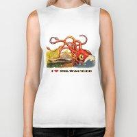milwaukee Biker Tanks featuring MILWAUKEE: What's Kraken, Milwaukee? by Amanda Iglinski