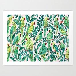 Green Parrots Art Print