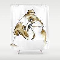 bulldog Shower Curtains featuring Bulldog by Gooberella