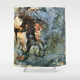 Growths on the Rocks by Geysers in Iceland Shower Curtain