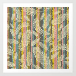Feathers and Stripes Art Print