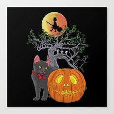 Cat Halloween Girls Canvas Print