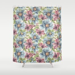 Hibiscus Vintage Pattern Shower Curtain