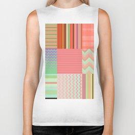 Stripes and chevron mixed color fantasy Biker Tank