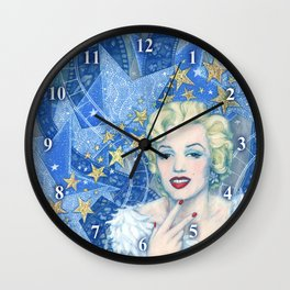 Marilyn, Old Hollywood, celebrity portrait Wall Clock