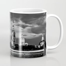 Peter And Paul Fortress at night, downtown, center of St. Petersburg, summer day, dramatic sky, clouds, river embankment, black and white (St. Petersburg, Russia) (2012-7SPBBW2) Coffee Mug