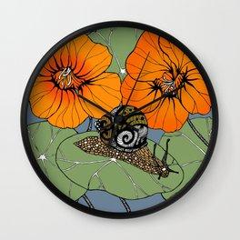 Snail on Nasturtiums Wall Clock