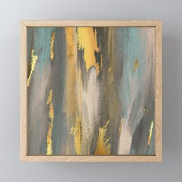 Colorful Paint Brushstrokes Gold Foil Abstract Texture Framed Mini Art Print