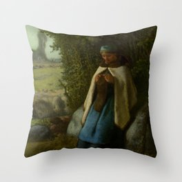 "Jean-François Millet ""Shepherdess Seated on a Rock"" Throw Pillow"