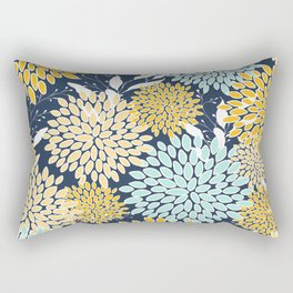 Floral Prints and Leaves, Navy Blue, Yellow, Aqua Rectangular Pillow