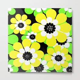 Yellow green bright floral pattern . Metal Print