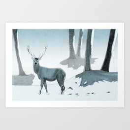 Winter Stag Art Print