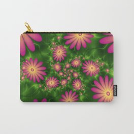 Pink Fantasy Flowers Fractal Carry-All Pouch