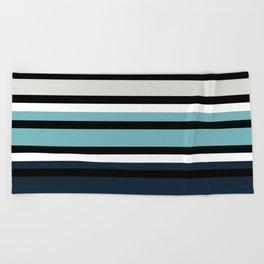 Pattern stripes . Blue , red , white , gray , black . Beach Towel