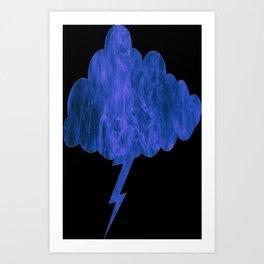 Blue Fire Lightning Cloud Art Print