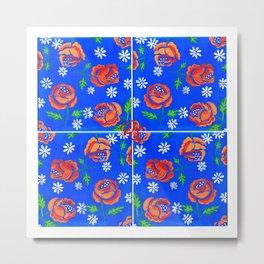 Orange rose tile Metal Print