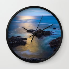 On the Rocks - Moonlight Reflects Off Pacific Ocean in California Wall Clock