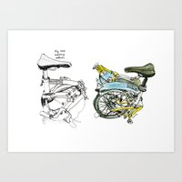 brompton Art Prints featuring My brompton by Swasky