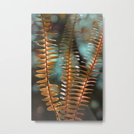 Autumn Ferns in Orange and Blue Metal Print