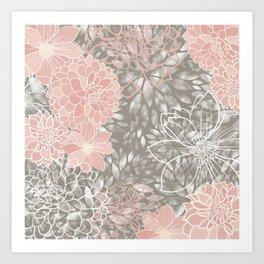 Floral Pattern Dahlias, Blush Pink, Gray, White Art Print