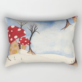 Mushroom Houses in Winter by Twelve Little Tales Rectangular Pillow