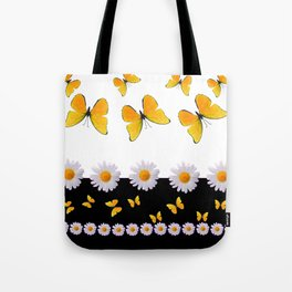 BLACK MODERN ART YELLOW BUTTERFLIES & WHITE DAISIES  ABSTRACT Tote Bag