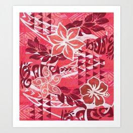 Red Hibiscus Polynesian Tapa Art Print