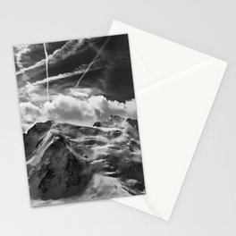 Mont Blanc, the White Mountain, Italian-French Alps black and white photograph  Stationery Cards